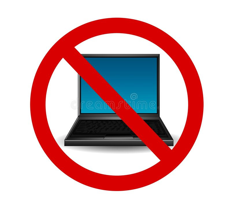 Laptop Internet Ban. An illustration featuring a laptop computer with a red banned symbol in front to represent 'internet-free' zones and similar topics vector illustration