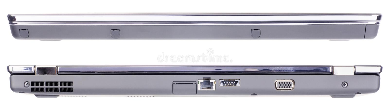 Laptop Isolated Front And Rear View Stock Photo