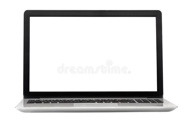Laptop isolated on the white background with clipping path stock photos