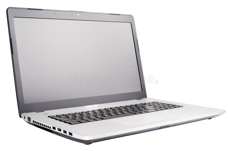 Laptop isolated on white stock photos
