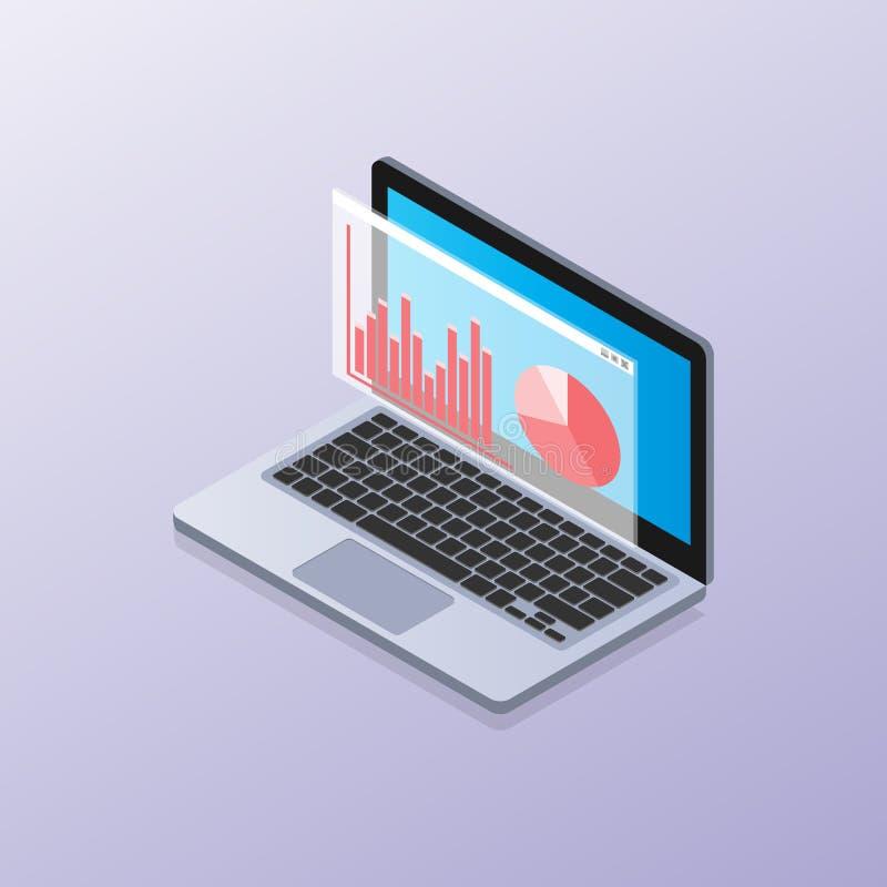 Laptop isometric z elementami dane i statystyki zdjęcia royalty free