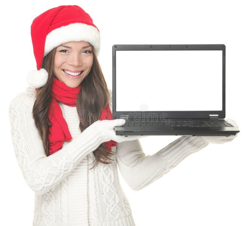 Laptop Kerstmisvrouw royalty-vrije stock afbeelding
