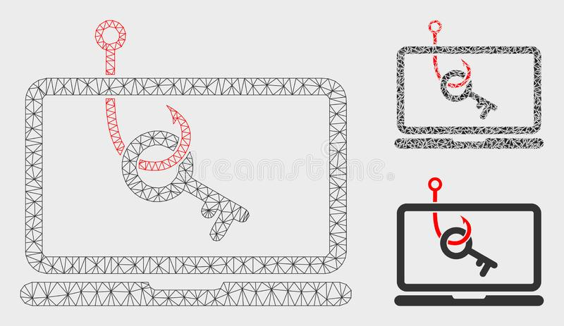 Laptop Key Phishing Vector Mesh 2D Model and Triangle Mosaic Icon vector illustration
