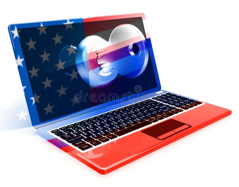 Laptop And Key Shows Hacking 3d Illustration. Laptop And Key Showing Hacking 3d Illustration royalty free illustration