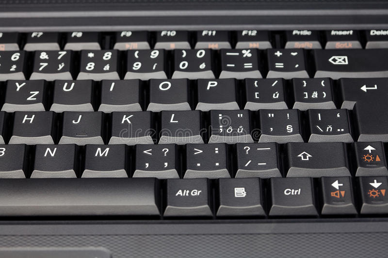 Laptop keyboard close-up. A computer laptop keyboard close-up stock image