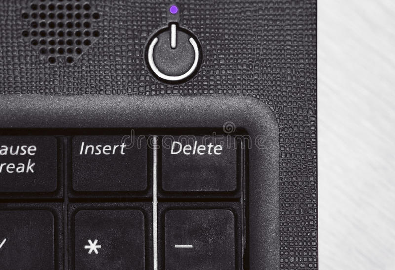 Laptop keyboard with delete button in black and white royalty free stock image