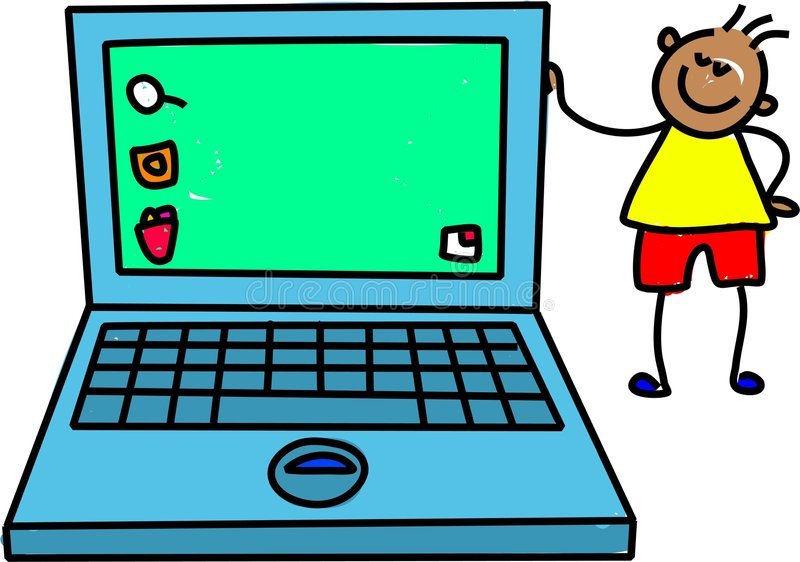 Laptop kid royalty free illustration