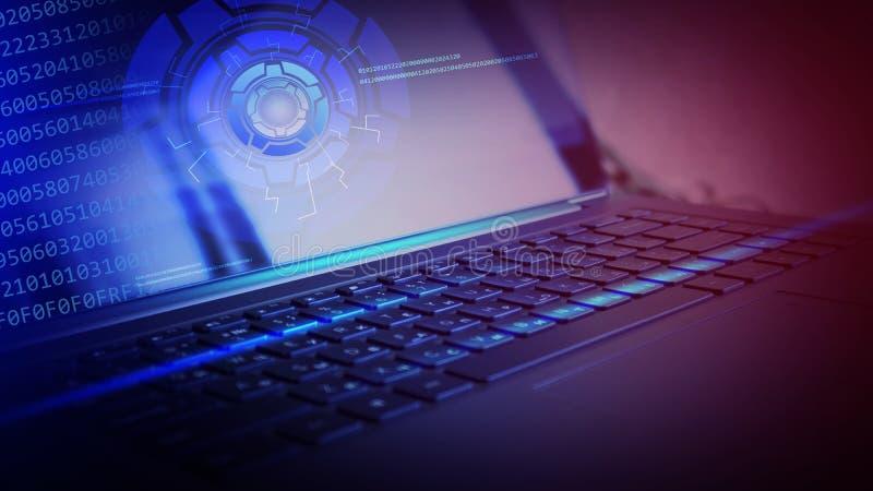 Laptop, klawiaturowy zakończenie, neonowy światło zdjęcia stock