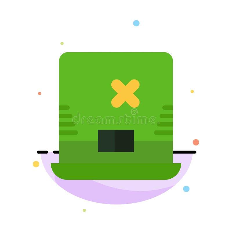 Laptop, komputer, Irlandia koloru ikony Abstrakcjonistyczny Płaski szablon ilustracja wektor