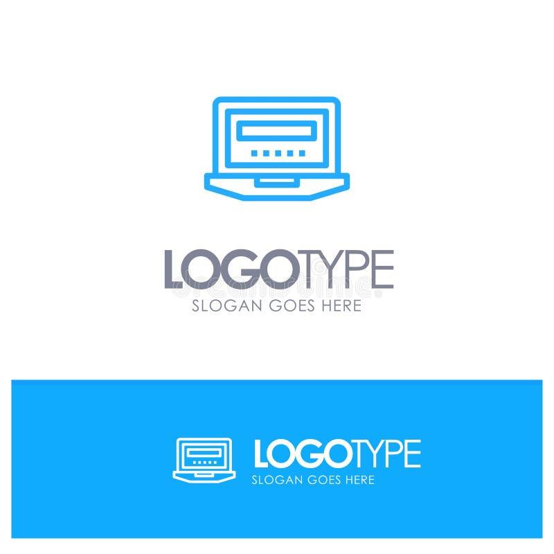 Laptop, komputer, narzędzia, edukacja Błękitnego logo Kreskowy styl ilustracja wektor