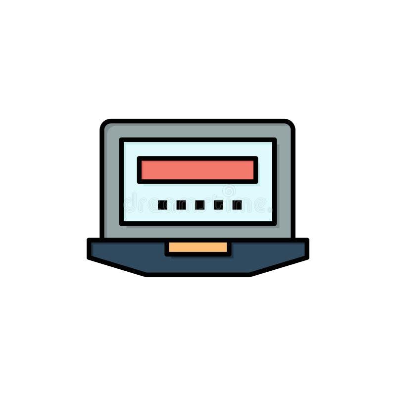 Laptop, komputer, narzędzia, edukacja koloru Płaska ikona Wektorowy ikona sztandaru szablon royalty ilustracja