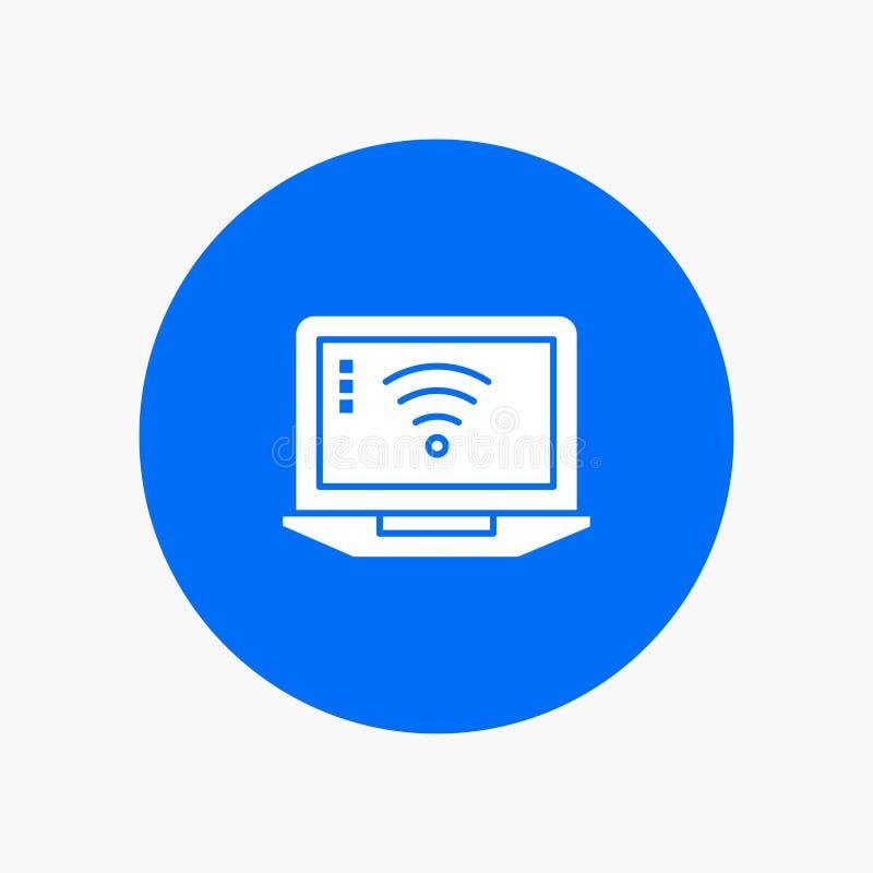 Laptop, komputer, sygnał, Wifi glifu biała ikona royalty ilustracja