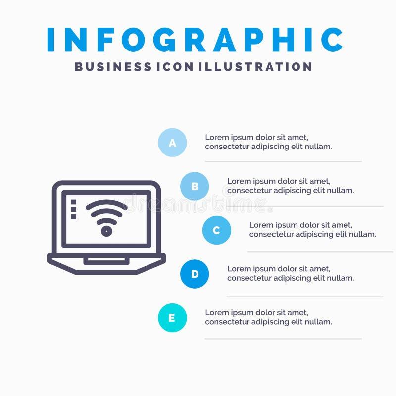 Laptop, komputer, sygnał, Wifi Infographics szablonu 5 Błękitni kroki Wektor ikony kreskowy szablon ilustracja wektor