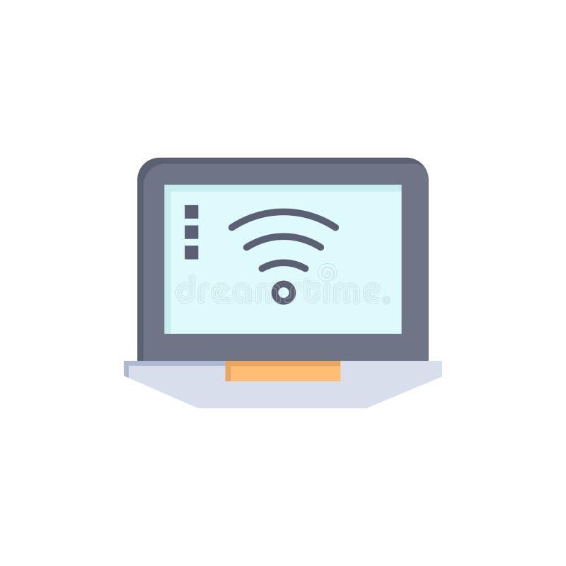 Laptop, komputer, sygnał, Wifi koloru Płaska ikona Wektorowy ikona sztandaru szablon ilustracja wektor