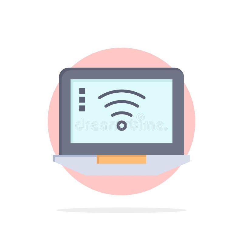 Laptop, komputer, sygnał, Wifi okręgu Abstrakcjonistycznego tła koloru Płaska ikona ilustracji