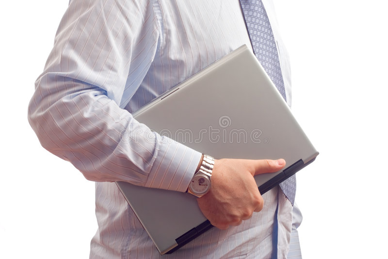 laptop komputerowy biznesmena gospodarstwa zdjęcia stock