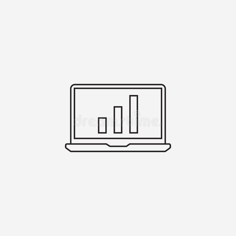 Laptop kreskowa ikona, konturu loga wektorowa ilustracja, liniowy picto ilustracja wektor