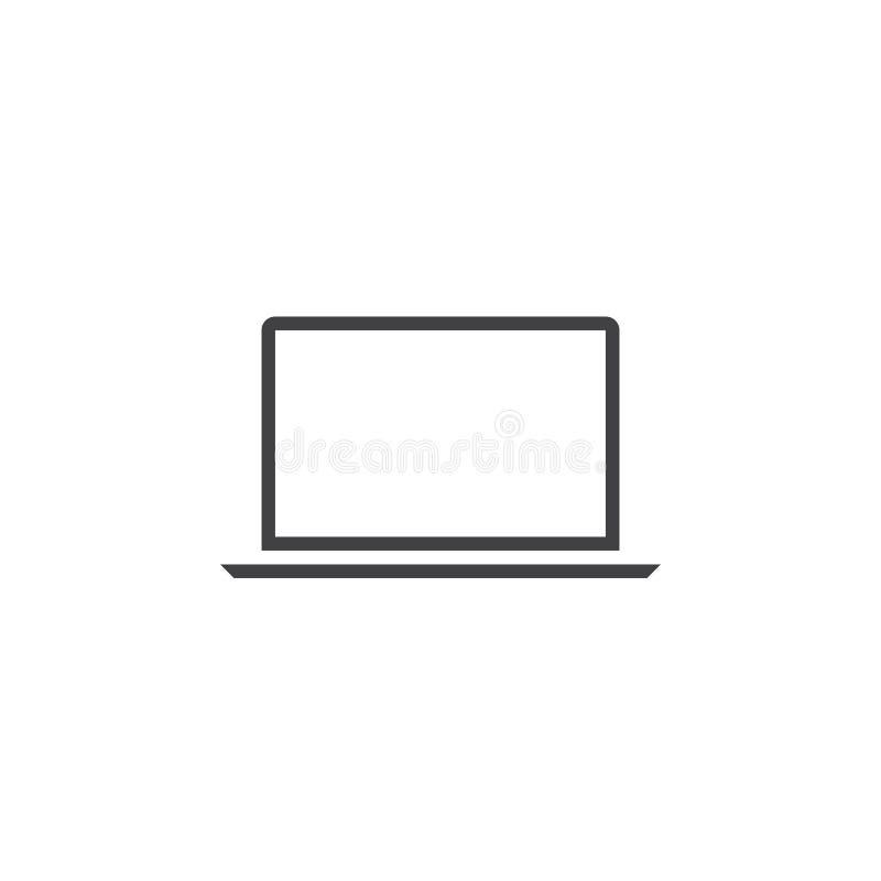 Laptop kreskowa ikona, konturu loga wektorowa ilustracja, liniowy picto royalty ilustracja