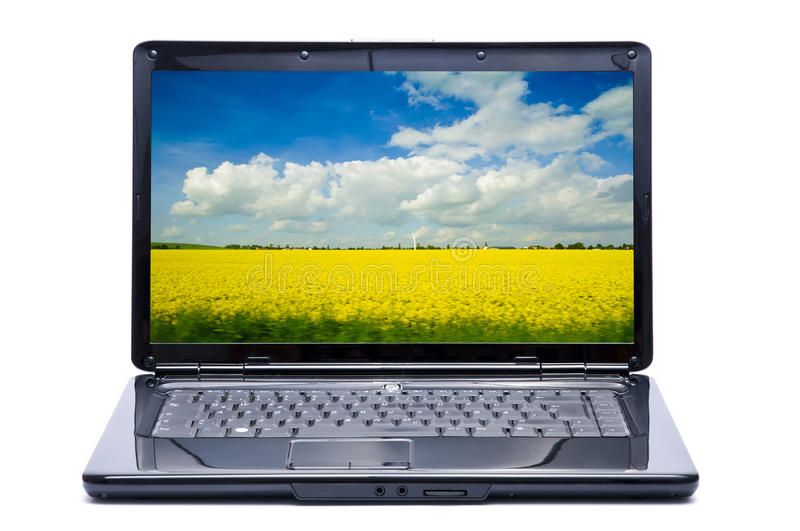 Laptop with landscape. New laptop with beautiful landscape on screen isolated on a white background