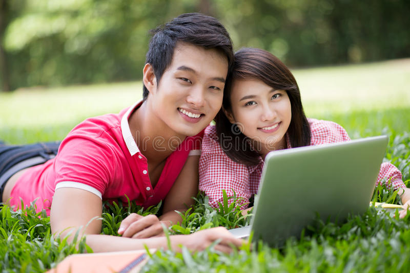 Download Laptop on the lawn stock photo. Image of leisure, asian - 28376092