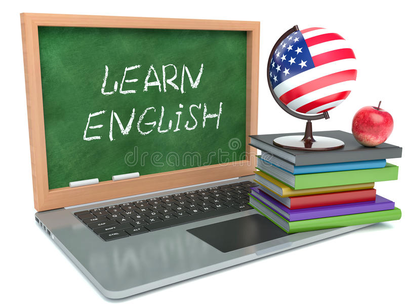 Laptop. Learn English concept. Isolated white background stock illustration