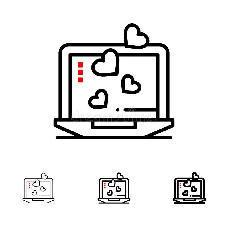 Laptop, Liebe, Herz, mutige und dünne schwarze Linie Ikonensatz heiratend stock abbildung