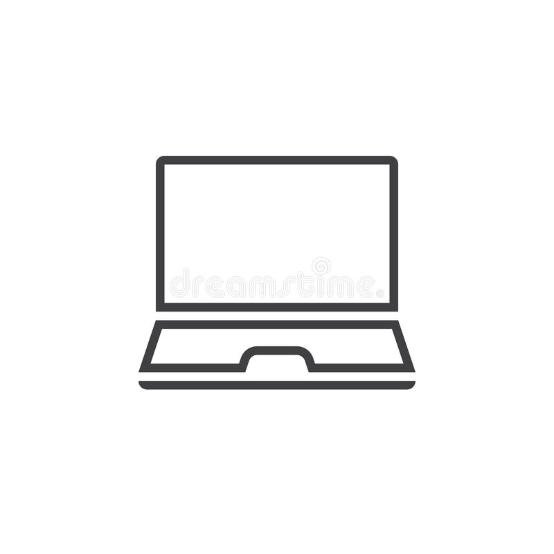 Laptop line icon, mobile computer outline vector logo, linear pi. Ctogram isolated on white, pixel perfect illustration vector illustration