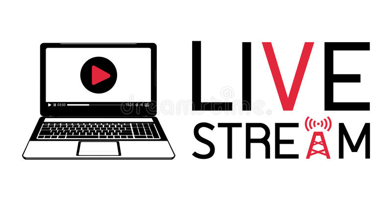 Laptop live stream logo. A laptop live stream logo royalty free illustration