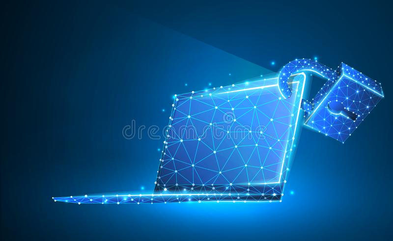 Laptop, lock, notebook symbol. Devices protection, password, privacy concept. Abstract, digital, wireframe, low poly mesh, vector. Neon 3d illustration royalty free illustration