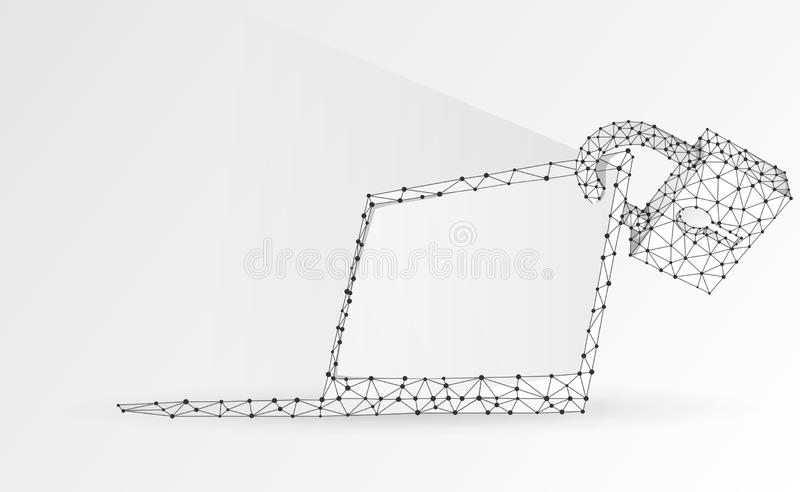 Laptop, lock, notebook symbol. White screen. Devices protection, password, privacy concept. Abstract, digital, wireframe, low poly. Mesh vector origami 3d vector illustration