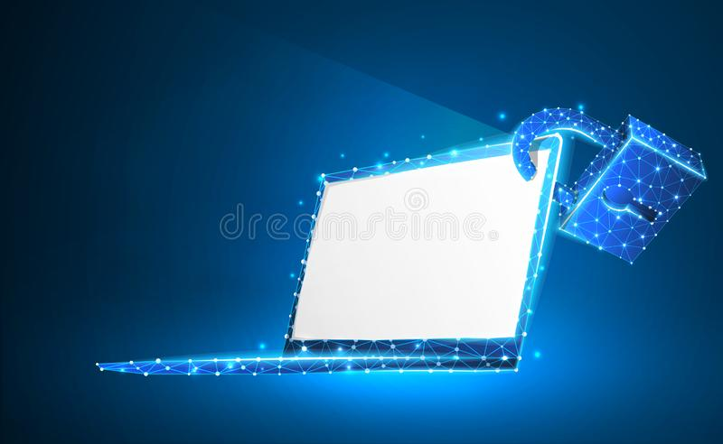 Laptop, lock, notebook symbol. White screen. Devices protection, password, privacy concept. Abstract, digital, wireframe, low poly. Mesh, vector neon 3d royalty free illustration