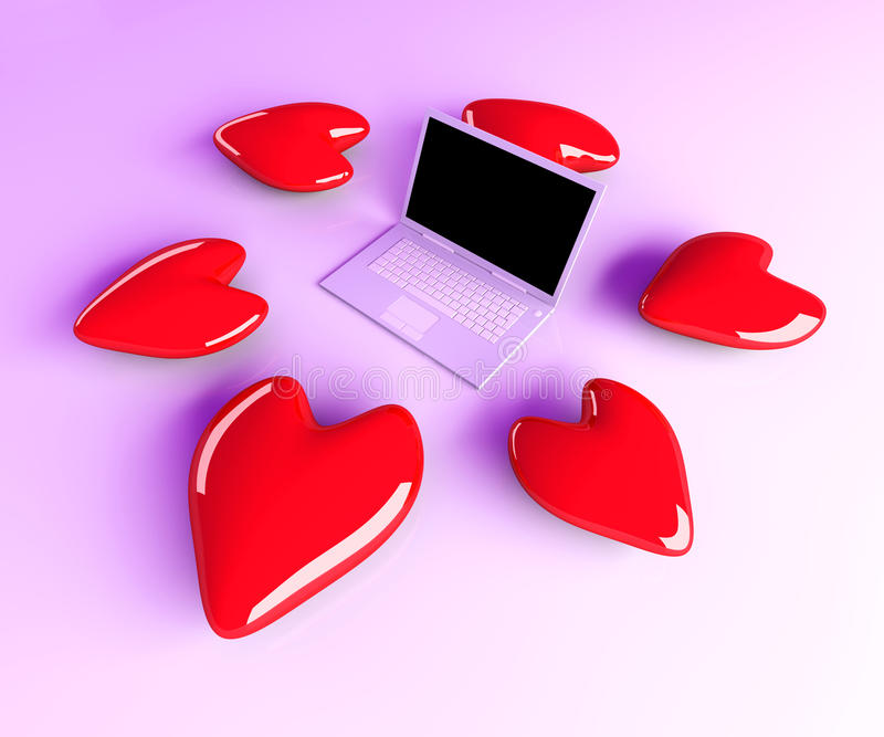 Download Laptop in Love stock illustration. Image of display, mobile - 20024874