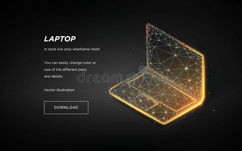 Laptop low poly wireframe on dark background.Laptop hi-tech illustration.Plexus lines and points in the constellation. Vector stock illustration