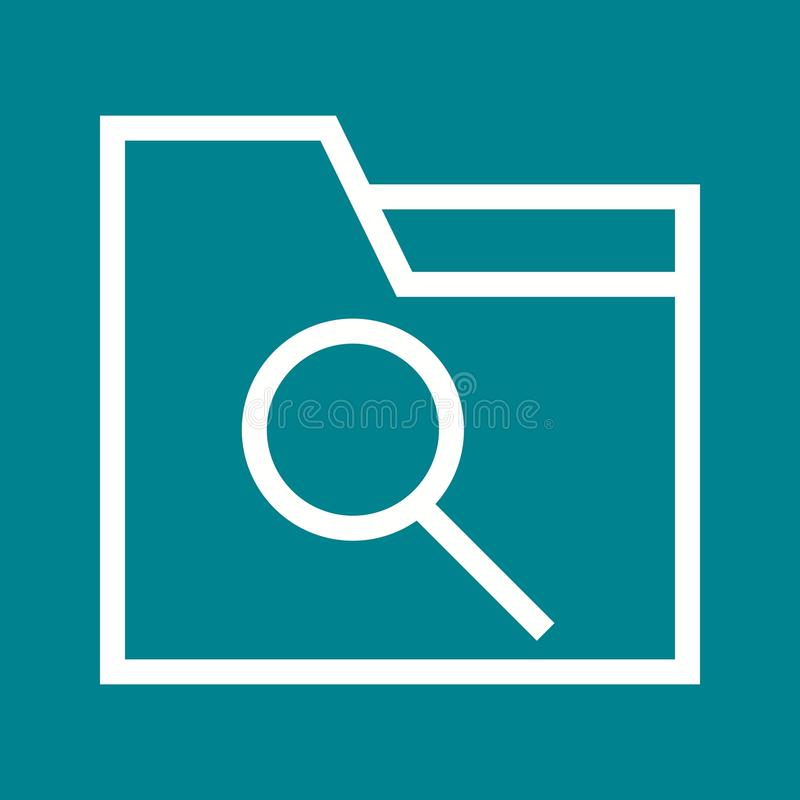 Laptop, Lupe und Dateien vektor abbildung