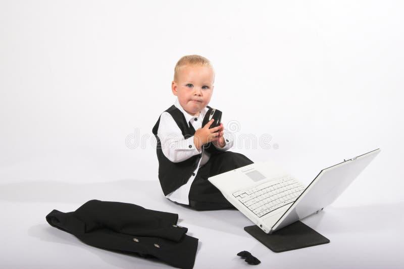 laptop mały chłopiec fotografia royalty free