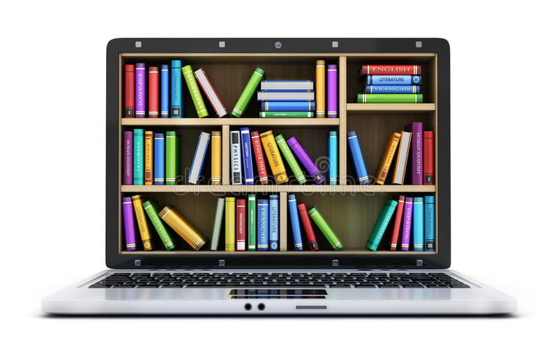 Laptop and many book stock illustration
