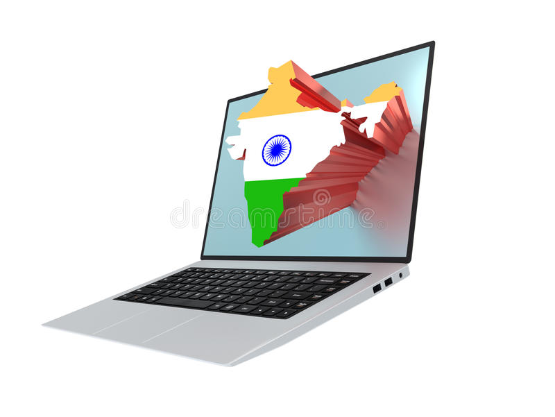 Laptop with map of India containing the flag of India. Modern laptop with map of India containing the flag of India vector illustration