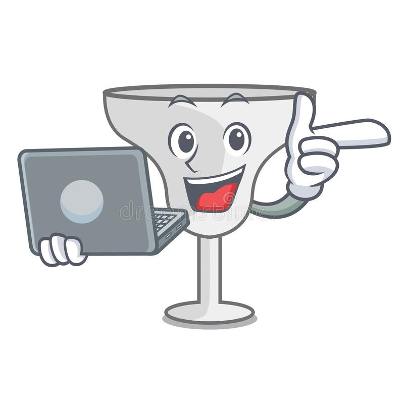 With laptop margarita glass character cartoon. Vector illustration vector illustration