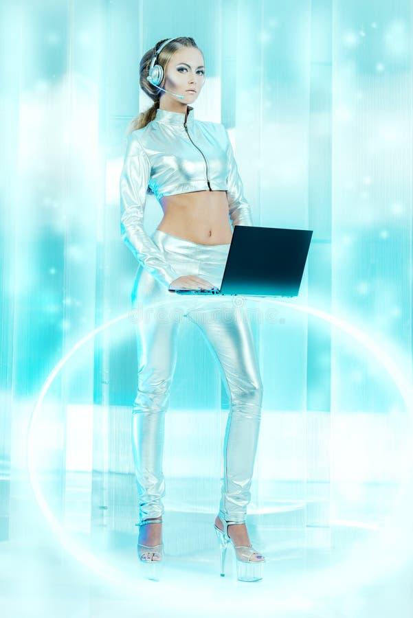 Laptop meisje stock fotografie