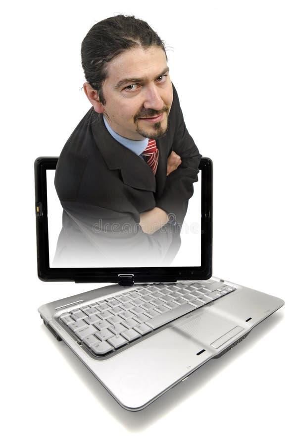 Laptop mens royalty-vrije stock fotografie
