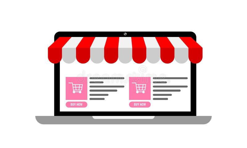 Laptop met afbaardende en online e-commerceplaats met boodschappenwagentjepictogrammen op het De online vectorillustratie van het royalty-vrije illustratie