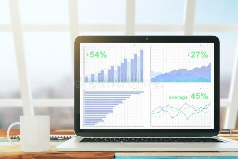Laptop met bedrijfsgrafiek op het houten bureau met kop van koffie royalty-vrije stock afbeeldingen