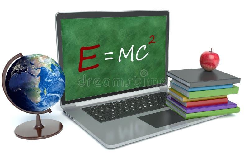 Laptop met bord Het concept van het onderwijs 3d vector illustratie