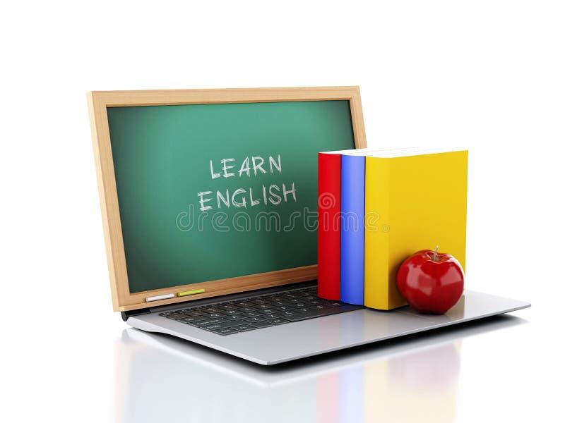 Laptop met bord Leer Engels concept 3D Illustratie vector illustratie