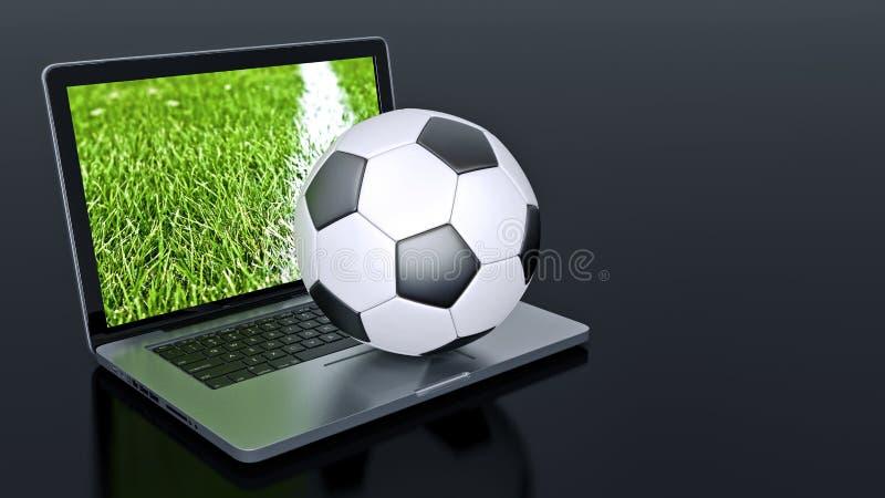 Laptop met de bal van de voetbalvoetbal stock illustratie