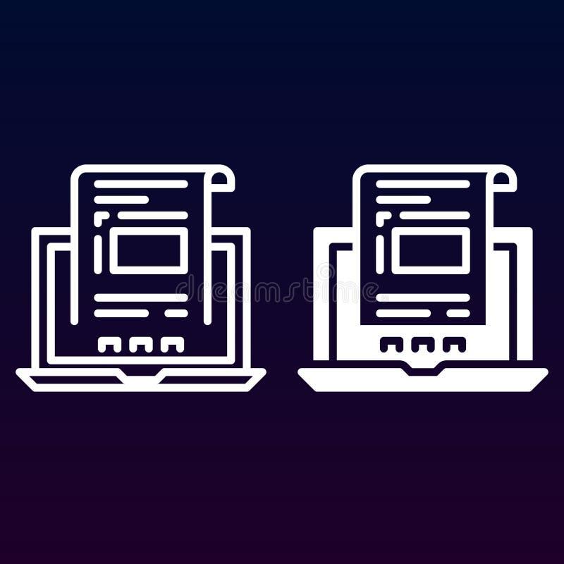 Laptop met document, rekeningslijn en stevig pictogram, overzicht en gevuld vectorteken, lineair en volledig die pictogram op wit vector illustratie
