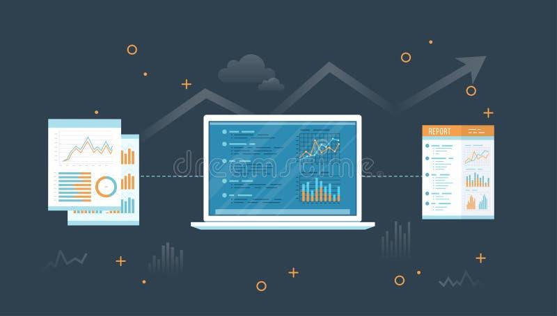 Laptop met documenten en rapport Informatie met grafieken en grafieken over het scherm Financiële Controle rapportering Controle, stock illustratie