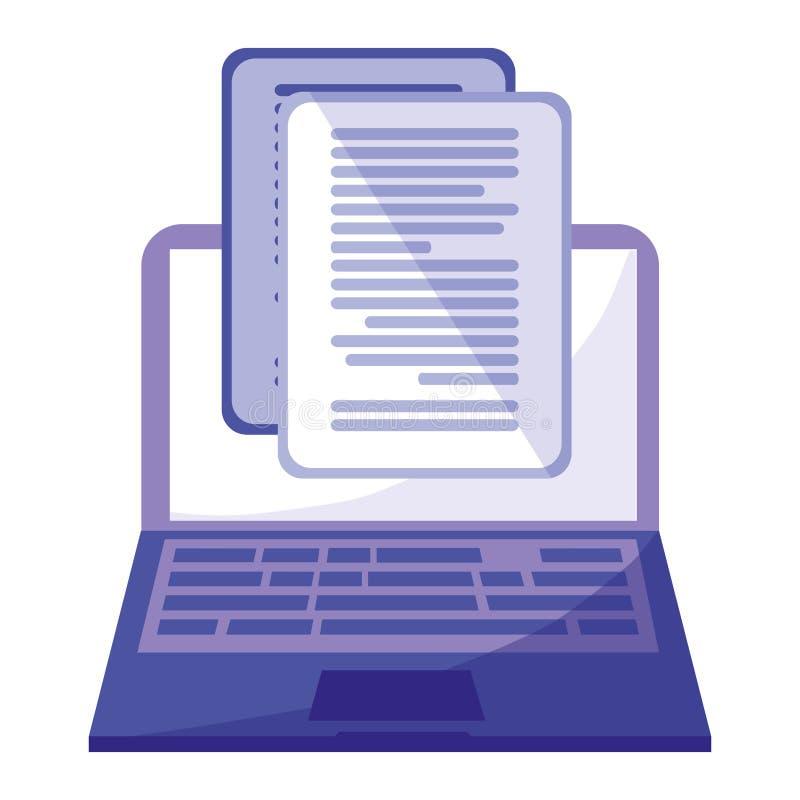 Laptop met documentenpictogram royalty-vrije illustratie