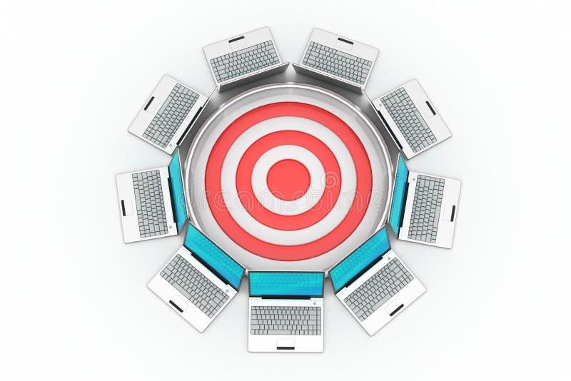 Laptop met doelpictogram stock illustratie