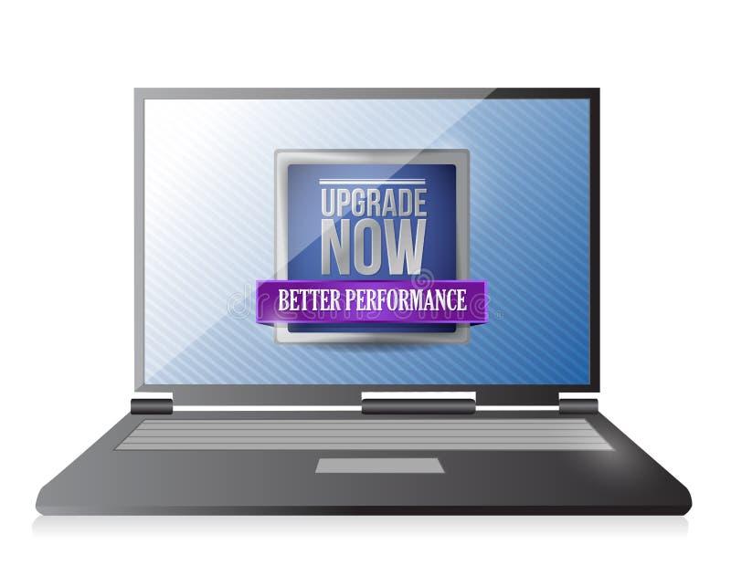 Laptop met een ontwerp van de verbeterings nu illustratie stock illustratie